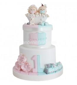 İkiz Bebek Bir Yaş Pastası