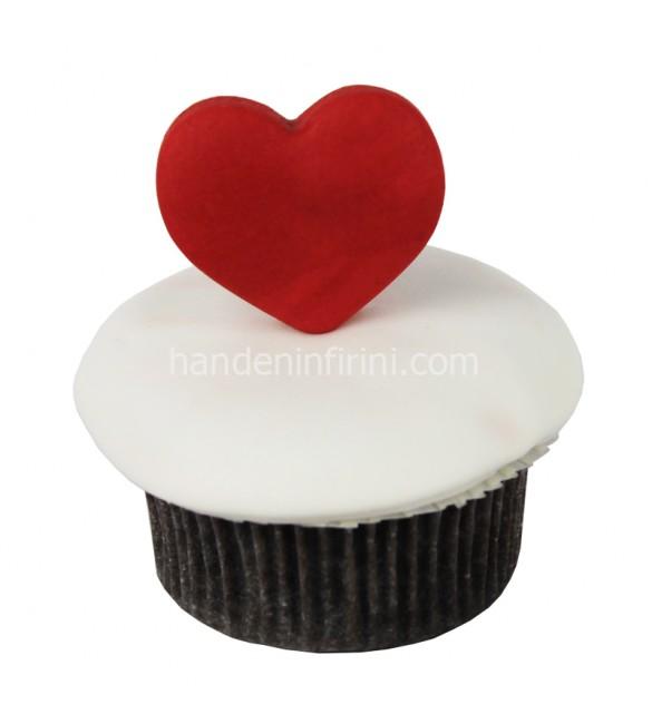 Kırmızı Kalp Cupcake