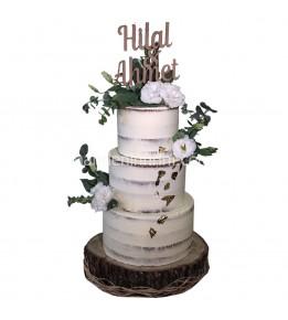 Çiçekli Naked Cake Nişan Pastası
