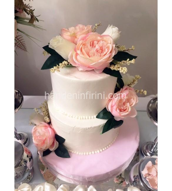 Naked Çiçekli Nişan Pastası